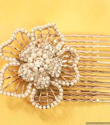 Buy White Flower Pearl & Zircon Hair pin brooch online