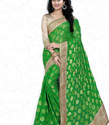Buy green embroidered viscose saree with blouse viscose-saree online