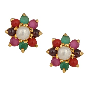 Multicolor american diamonds earrings
