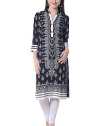 Buy Black block print rayon kurti kurtas-and-kurti online