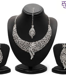 Buy Sukkhi Sleek Rhodium plated AD Stone Necklace Set necklace-set online