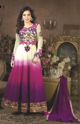 Purple georgette embroidered semi stitched long anarkali dress