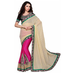 Buy Beige embroidered silk saree with blouse fashion-deal online