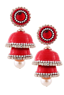 Red teracotta and dokra jhumkas
