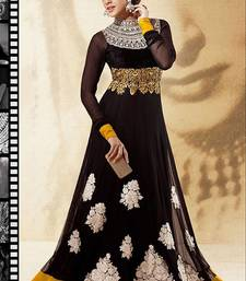 Buy Dazzling diva jet black salwar kameez party-wear-salwar-kameez online