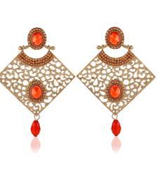 Buy Stylish Designer Orange Stone Gold Finishing Dangle Earrings danglers-drop online