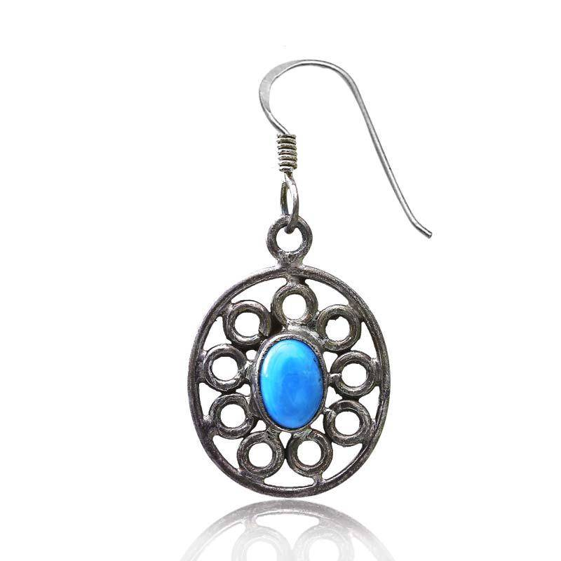 buy oxidise silver earrings with blue stones