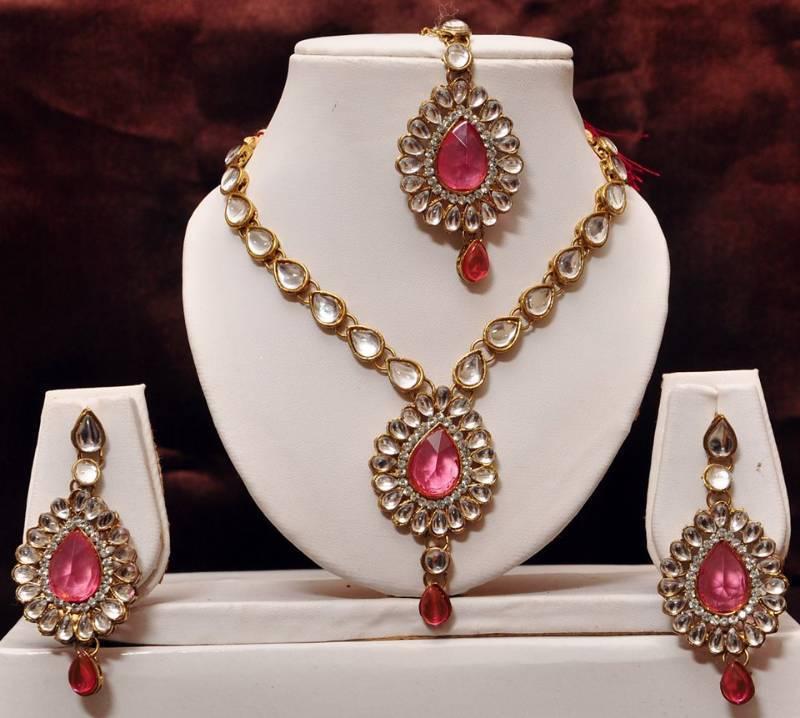 Buy Pink Kundan Necklace Set Online