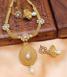 Buy Gold plated necklace with earrings south-indian-jewellery online