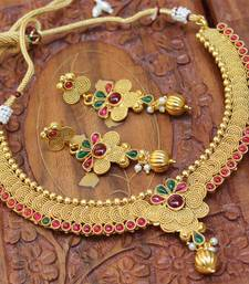 Buy Gorgeous gold plated necklace with earrings necklace-set online