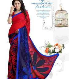 Buy Red printed georgette saree with blouse below-500 online
