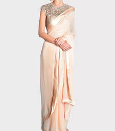 Buy Cream plain georgette saree with blouse party-wear-saree online