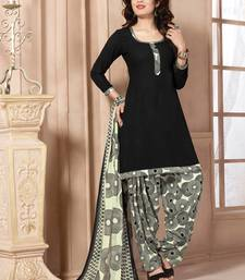 Buy Black printed polyester unstitched salwar with dupatta dress-material online
