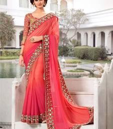 Buy Pink Georgette Mirror Work saree with blouse Piece kareena-kapoor-saree online