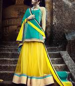 Buy Yellow Embroidered Net Semistitched Lehenga Choli With Blouse
