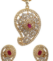 Buy KNOWLEDGE Collection Studded Pink Colour Fusion Paisley Pendant Set For Women Pendant online