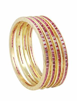 Ruby Red CZ AD American Diamond Bangles Jewellery for Women - Orniza