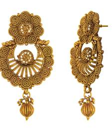 Buy Traditional Ethnic Floral Spiral Gold Plated Dangler Earrings for Women danglers-drop online