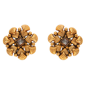 Traditional Ethnic White Square Floral Gold Plated Dangler Earrings with Crystals for Women