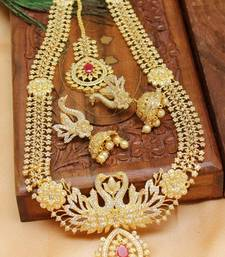 Buy Designer high gold plated  peacock bridal long  necklace set  with beautiful earrings south-indian-jewellery online