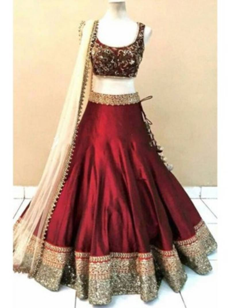 Buy Maroon Embroidered Raw Silk Unstitched Lehenga Choli