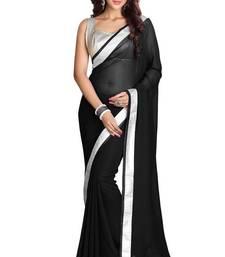 Buy Black plain chiffon saree with blouse georgette-saree online