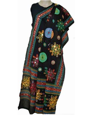 Black kutch embroidery duppatta