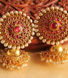 Buy Lovely designer pearl-pink partywear jhumkkas-DJ02930 south-indian-jewellery online
