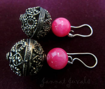 Pink Golden Balls Earrings