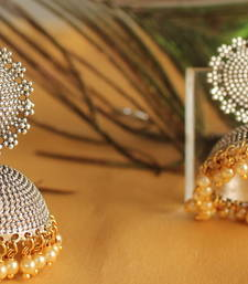 Buy Gorgeous oxidized silver jhumkka with pearl drops-DJ03102 jhumka online
