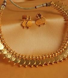 Buy BEAUTIFUL ANTIQUE COIN NECKLACE SET-DJ06847 diwali-jewellery online