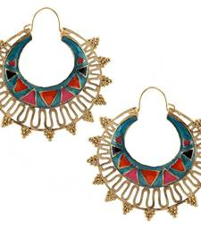 Buy designer blue meena large antique gold plated chaand bali earring hoop online