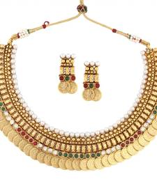 Buy gold plated pearl red green intricate necklace earring temple set south-indian-jewellery online