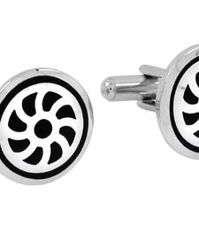 Buy Wheel Black Round Rhodium Plated Brass Cufflink Pair for Men cufflink online