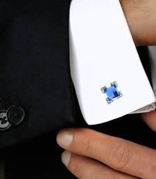 Buy Square Faceted Blue Stone American Diamond CZ Rhodium Plated Brass Cufflink Pair for Men cufflink online