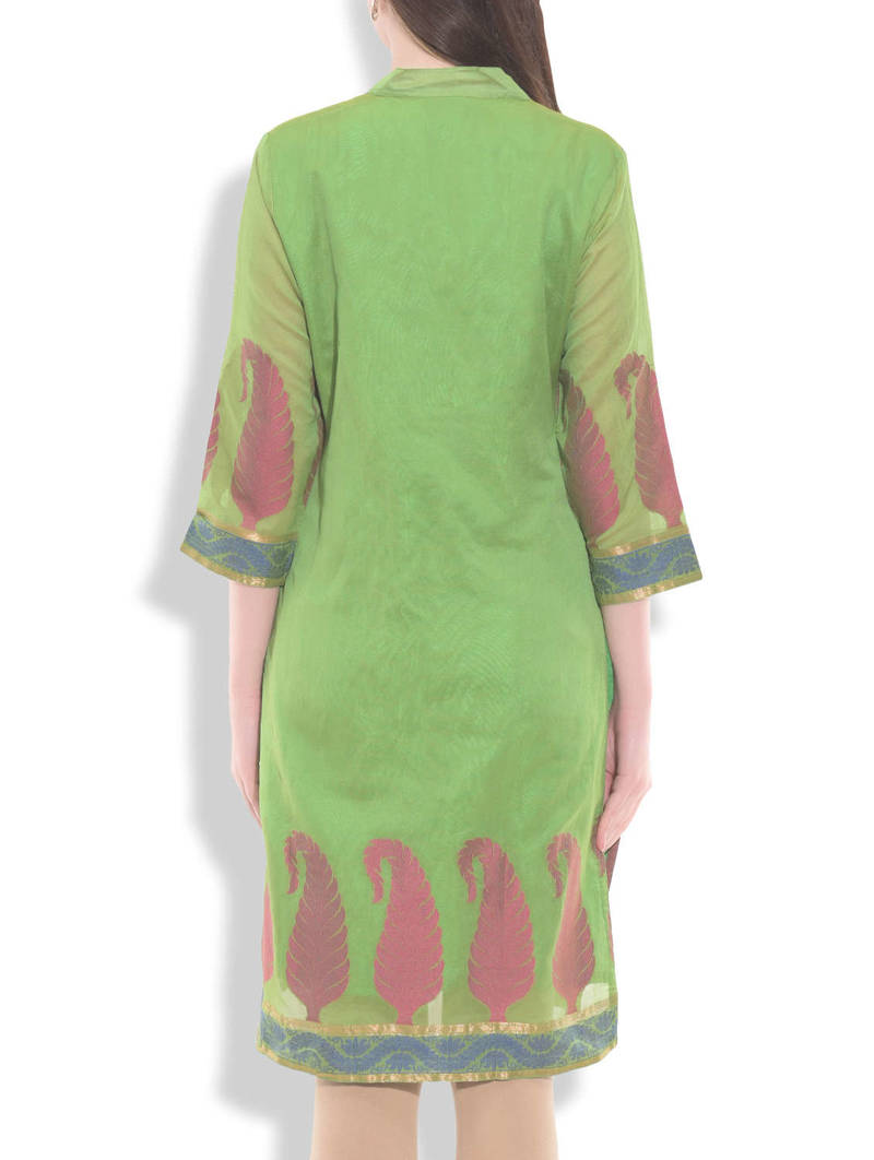 Buy Lime Green Organza Silk Printed Kurti Online