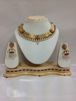 Celebrity Kundan Jewelry with Pearls in White