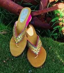 Buy Sea green silk plain women footwear eid-footwear online