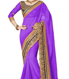 Buy purple resham embroidery georgette saree with blouse georgette-saree online