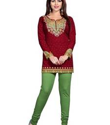 Buy Red american crepe printed kurti short-kurtis online