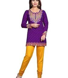 Buy Purple american crepe printed kurti short-kurtis online