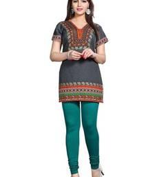 Buy Grey american crepe printed kurti short-kurti online
