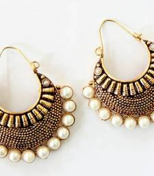 Buy ANTIQUE GOLD PLATED WHITE PEARLS BALI hoop online