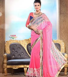 Buy Pink plain georgette saree With Blouse satin-saree online