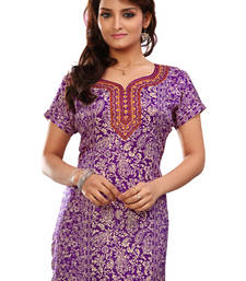 Buy Purple french jacquard printed kurti short-kurti online