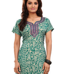 Buy Green french jacquard printed kurti short-kurti online