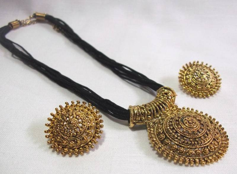 Buy big pendant black thread mangalsutra necklace set online big pendant black thread mangalsutra necklace set mozeypictures Images