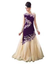 Buy Purple velvet embroidered semi stitiched party wear gown party-wear-gown online