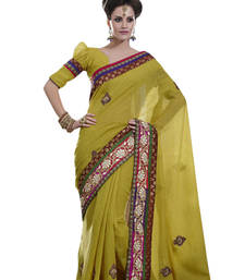 Buy multicolor embroidered jute saree With Blouse jute-saree online