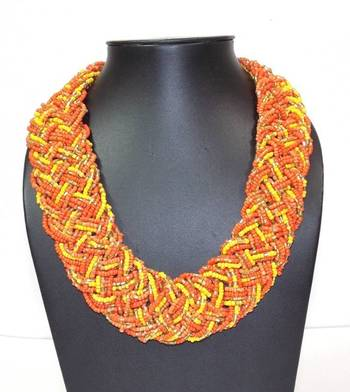 Orange And Yellow Glass Beads Necklace